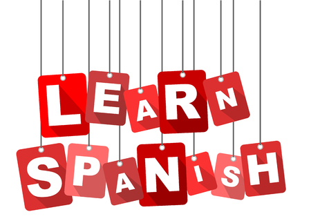 talking dictionary: learn spanish, red vector learn spanish, flat vector learn spanish, background learn spanish