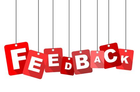 feedback: feedback, red vector feedback, flat vector feedback, background feedback Illustration