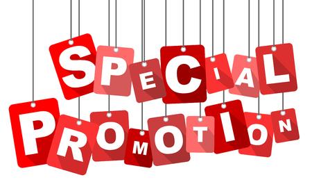 promoción especial, la promoción especial de color rojo vector, vector de promoción especial plana, promoción especial fondo