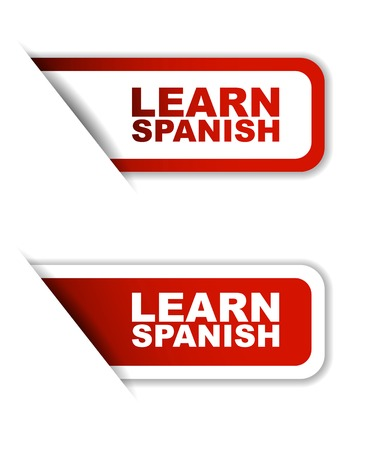 business class travel: learn spanish, sticker learn spanish, red sticker learn spanish, red vector sticker learn spanish, set stickers learn spanish, design learn spanish