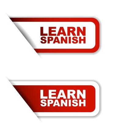learn spanish, sticker learn spanish, red sticker learn spanish, red vector sticker learn spanish, set stickers learn spanish, design learn spanish