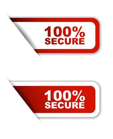 secure: 100% secure, sticker 100% secure, red sticker 100% secure, red vector sticker 100% secure, set stickers 100% secure, design 100% secure Illustration