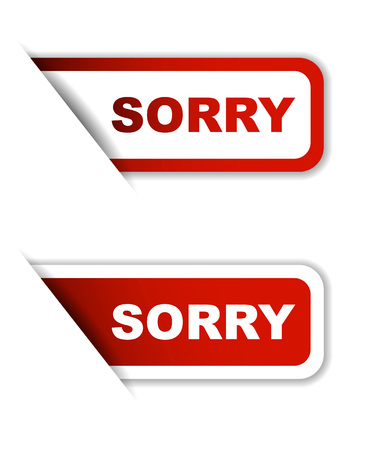 apologize: sorry, sticker sorry, red sticker sorry, red vector sticker sorry, set stickers sorry, design sorry Illustration