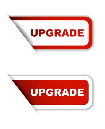upgrade, sticker upgrade, red sticker upgrade, red vector sticker uppgrade, set stickers upgrade