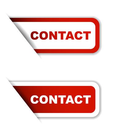 contact: contact, sticker contact, red sticker contact, red vector sticker contact, set stickers contact