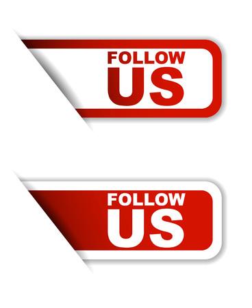 follow: follow us, sticker follow us, red sticker follow us, red vector sticker follow us, set stickers follow us, design follow us, sign follow us