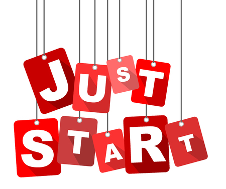just start, red vector just start, flat vector just start, background just start Illustration