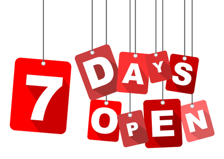 days: 7 days open, red vector 7 days open, flat vector 7 days open, background 7 days open
