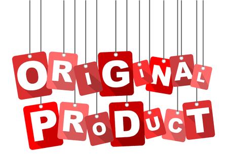 produit original, vecteur produit d'origine rouge, vecteur produit d'origine plat, fond produit d'origine Vecteurs