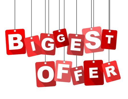 biggest: biggest offer, red vector biggest offer, flat vector biggest offer, background biggest offer