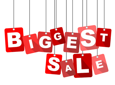 biggest: biggest sale, red vector biggest sale, flat vector biggest sale, background biggest sale Illustration