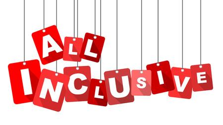 inclusive: all inclusive, red vector all inclusive, flat vector all inclusive, background all inclusive