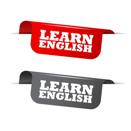 learn english, red banner learn english, vector element learn english