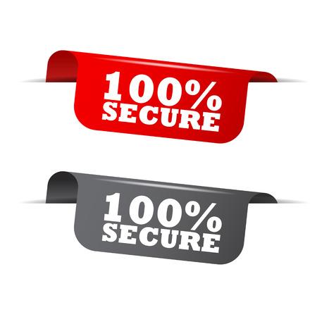 trusty: 100% secure, red banner 100% secure, vector element 100% secure Illustration