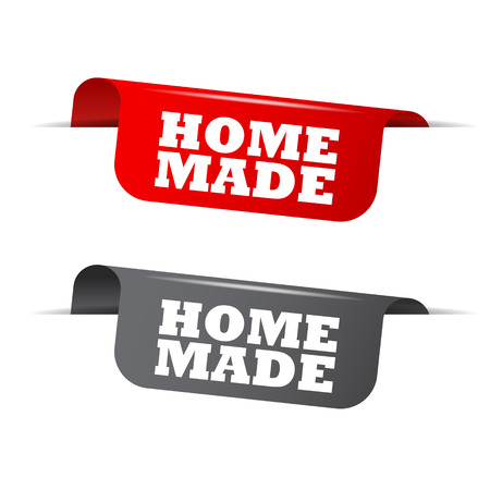 home made: home made, red banner home made, vector element home made