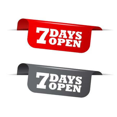 days: 7 days open, red banner 7 days open, vector element 7 days open