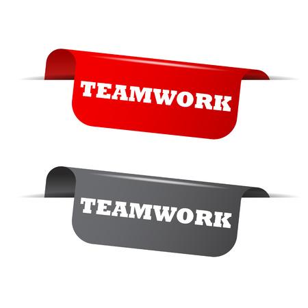teamwork: teamwork, red banner teamwork, vector element teamwork
