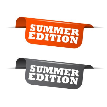 edition: summer edition, orange banner summer edition, vector element summer edition