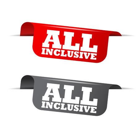 all inclusive, red banner all inclusive, vector element all inclusive