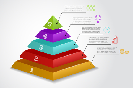 5 steps vector pyramid infographic template