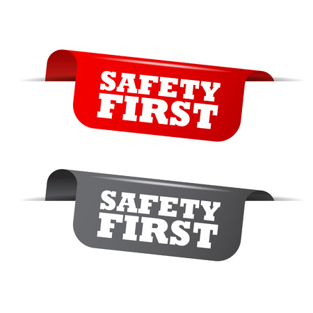 safety first: safety first, red banner safety firt, vector element safety first