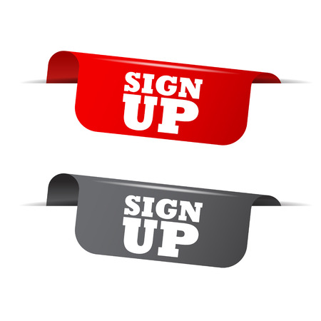 join here: sign up, red banner sign up, vector element sign up Illustration