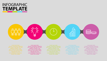 five step circle infographic template 矢量图像