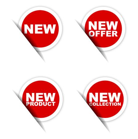 nieuwe sticker, nieuwe aanbod sticker, nieuw product sticker, nieuwe collectie sticker