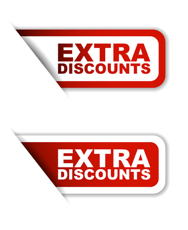 extra: red vector extra discounts, sticker extra discounts, banner extra discounts