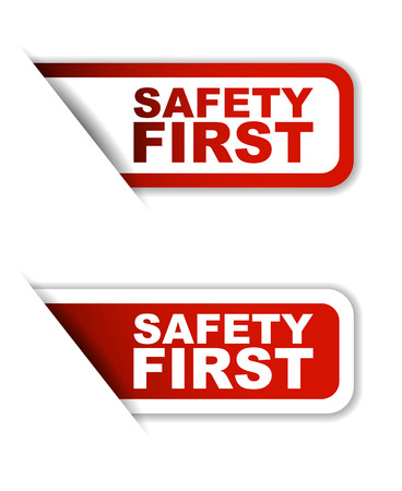 safety first: red vector safety first, sticker safety first, banner safety first Illustration