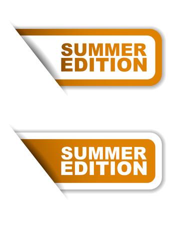 orange vector summer edition, sticker summer edition, banner summer edition