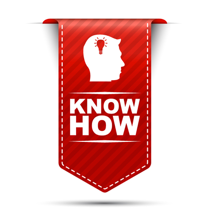 know: know how, red vector know how, banner know how Illustration