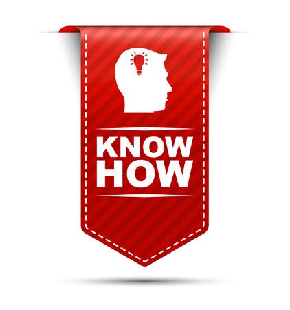 know how, rode vector weten hoe, banner weten hoe Stock Illustratie