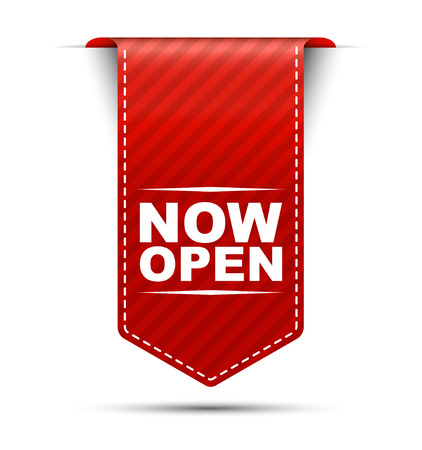 now open, red vector now open, banner now open Ilustracja