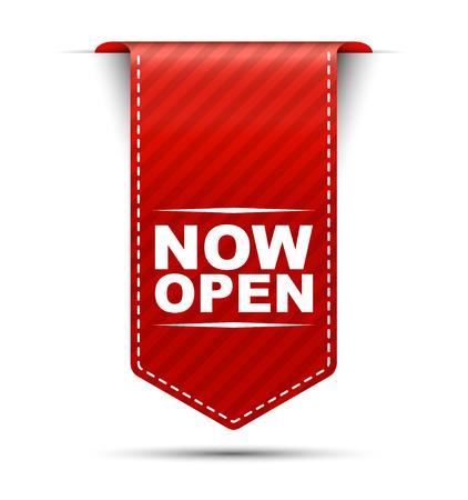 now open, red vector now open, banner now open Stock Illustratie