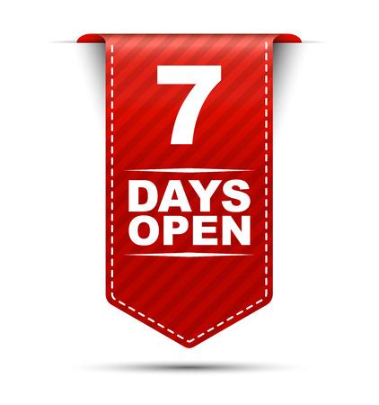 days: seven days open, red vector seven days open, banner seven days open