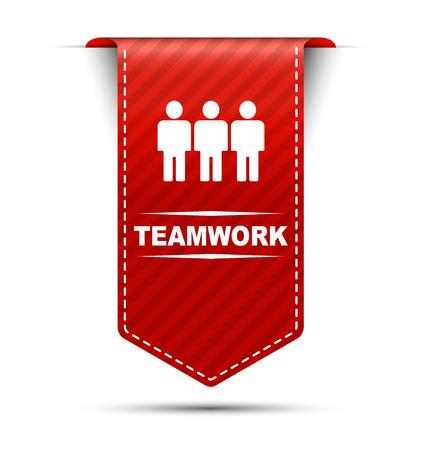 teamwork: teamwork, red vector teamwork, banner teamwork