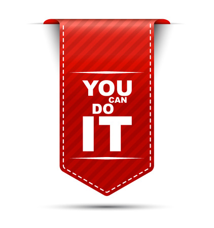you can do it, red vector you can do it, banner you can do it Illustration