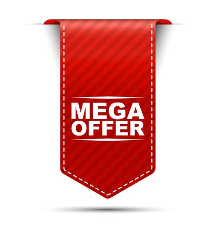 mega offer, red vector mega offer, banner mega offer