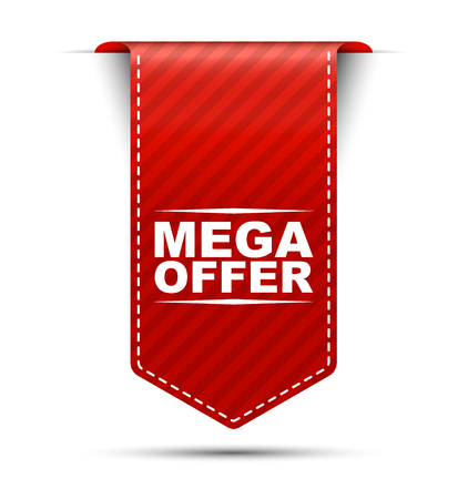 mega offer, red vector mega offer, banner mega offer