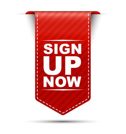 subscribe here: sign up now, red vector sign up now, banner sign up now