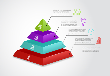 four people: four step pyramid vector infographic template with icons