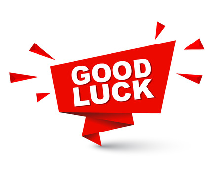 luckiness: Red easy vector illustration isolated paper bubble banner good luck. This element is well adapted for web design.