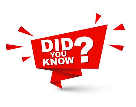 preguntando: Ilustración de vector fácil de color rojo banner de burbuja de papel aislado ¿Sabía usted? Este elemento está bien adaptado para el diseño web.