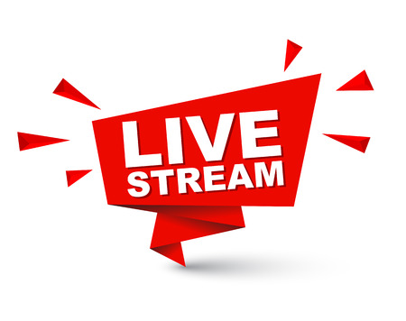 Red easy vector illustration isolated paper bubble banner live stream. This element is well adapted for web design.