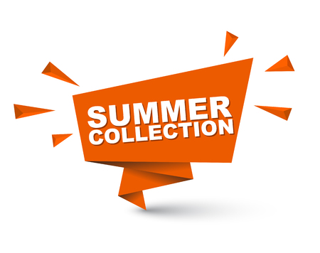 Orange easy vector illustration isolated paper bubble banner summer collection. This element is well adapted for web design.