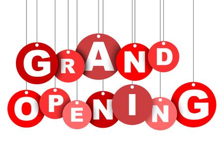 Red easy illustration isolated circle tag banner grand opening. This element is well adapted for web design. Ilustração