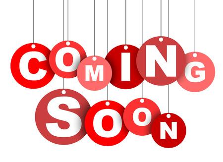 赤の簡単なイラスト分離円タグ バナー近日公開予定。この要素は、web デザインにも適応です。