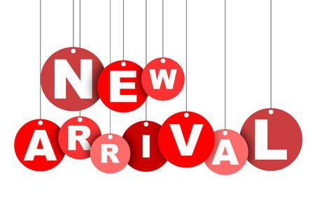 Rode gemakkelijke vector illustratie geïsoleerde cirkel tag banner nieuwe aankomst. Dit element is goed aangepast voor webdesign. Stock Illustratie
