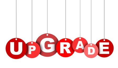 Rode gemakkelijke vector illustratie geïsoleerde cirkel tag banner-upgrade. Dit element is goed aangepast voor webdesign. Stock Illustratie